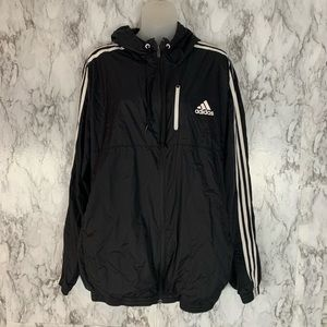 Adidas Zip Up Windbreaker Coat Three Stripes Black